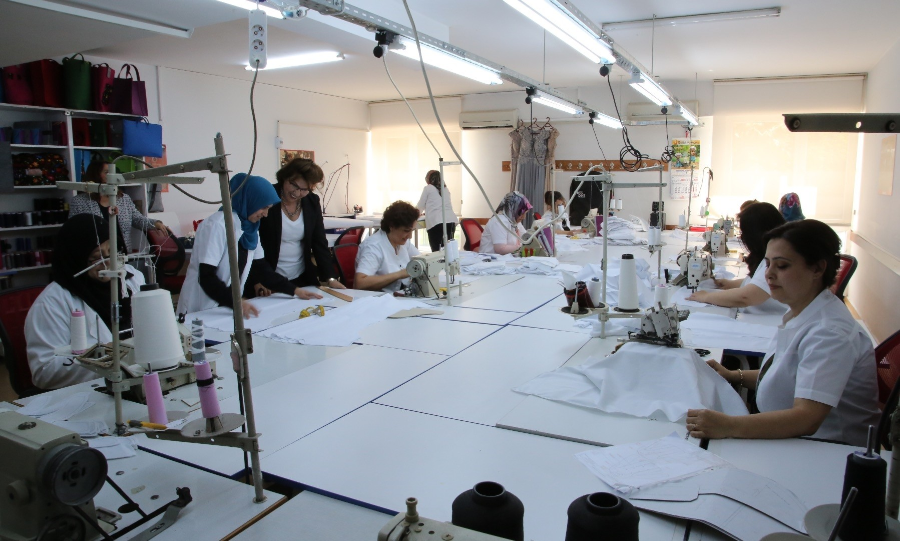 At the workshop in Soma, women sew uniforms for export to 42 countries.