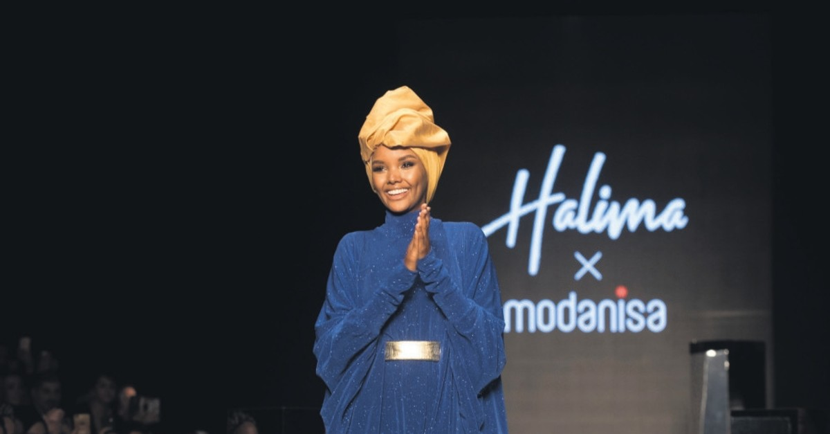 Halima Aden accepts greetings following the show named after her featuring a headscarf collection, Istanbul, April 20, 2019.