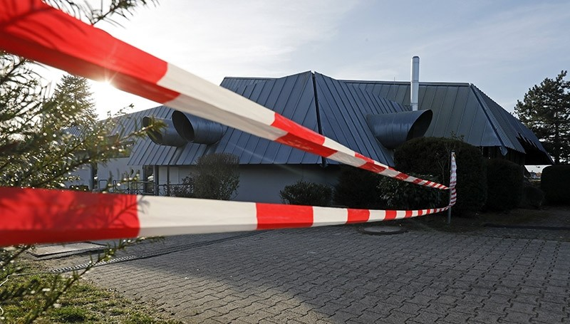 Barrier tape in front of the festival hall where Turkish Justice Minister Bekir Bozdau011f was scheduled to speak in a convention organized by Union of European Turkish Democrats (UETD) in Gaggenau, near Karlsruhe, Germany, March 02, 2017. (EPA Photo)