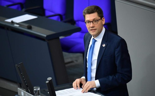 Federal Government Commissioner for the New Federal States Christian Hirte speaks during a session of the German parliament Bundestag on the status of the report of the German Unity in Berlin, Germany, Sept. 27, 2019. EPA Photo