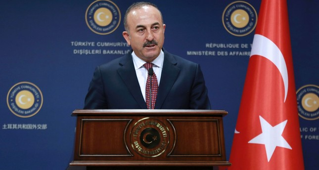 Turkish Foreign Minister Mevlut Cavusoglu addresses a joint press conference with his Iranian counterpart following their meeting at the Foreign Ministry in Ankara on August 12, 2016. (AFP Photo)