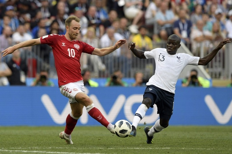 Denmark's midfielder Christian Eriksen (L) vies with France's midfielder N'Golo Kante during the Russia 2018 World Cup Group C football match between Denmark and France. (AFP Photo)