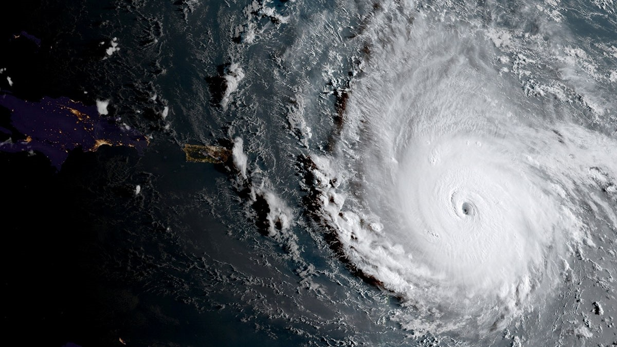 A handout photo made available by the National Oceanic and Atmospheric Administration (NOAA) shows a geocolor image of Hurricane Irma captured by NOAA's GOES-16 satellite as it strengthened to a Category 5 hurricane in the Central Atlantic Ocean.