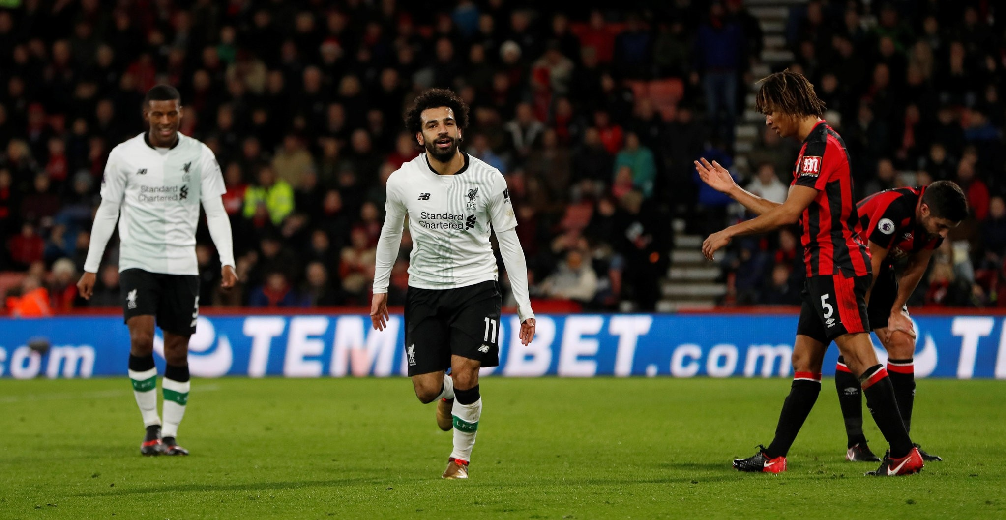 Liverpool's Mohamed Salah celebrates scoring their third goal. (Action Images via Reuters)