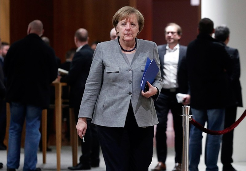 German Chancellor Angela Merkel during a break in the exploratory talks of four political parties in the Representative Office of the State Baden-Wuerttemberg, Berlin, Germany, Nov. 19, 2017. (EPA Photo)