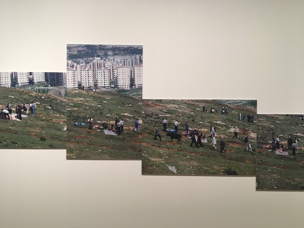 For his photographic installation u201cFeast of Sacrificeu201d (1997-1999), artist Bu00fclent u015eangar emphasizes the nature of urban transformation and its effect on society and tradition through repetition and breadth across the walls of SALT Beyou011flu.