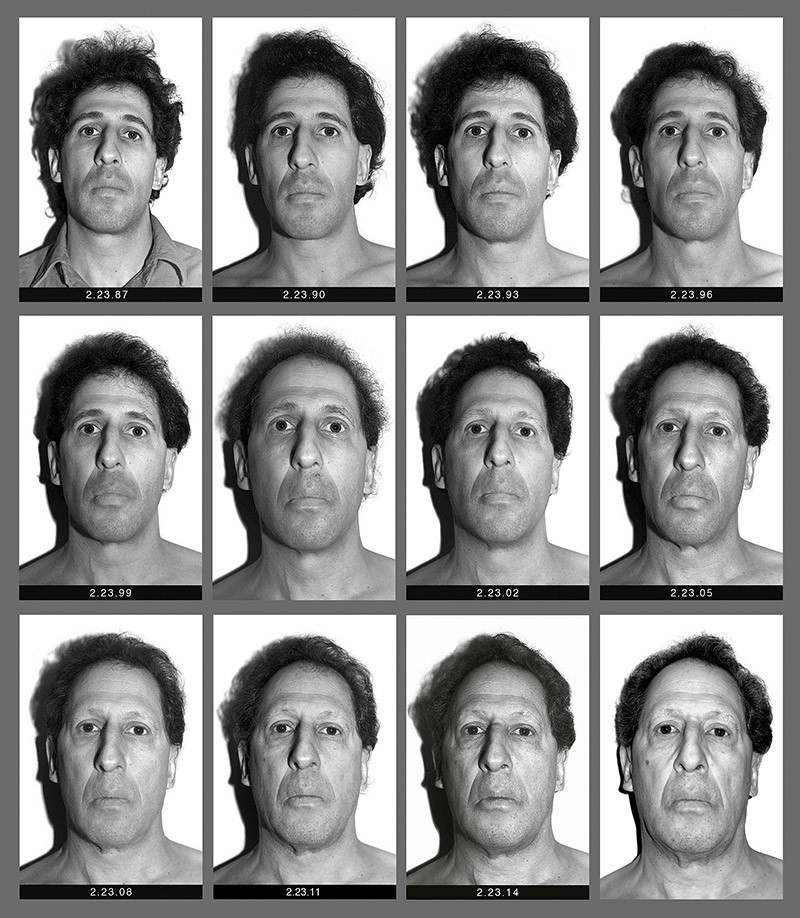 This panel of black and white self-made photographs provided by Karl Baden shows Baden over the last three decades beginning Feb. 23, 1987, top left, through Feb. 21, 2017, lower right. (AP Photo)