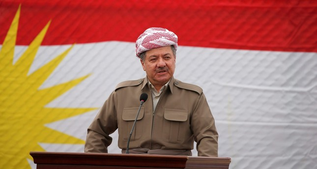 Kurdish Regional Government President Masoud Barzani speaks to the media during his visits in the town of Bashiqa, after it was recaptured from the Islamic State, east of Mosul, Iraq, November 16, 2016. REUTERS Photo