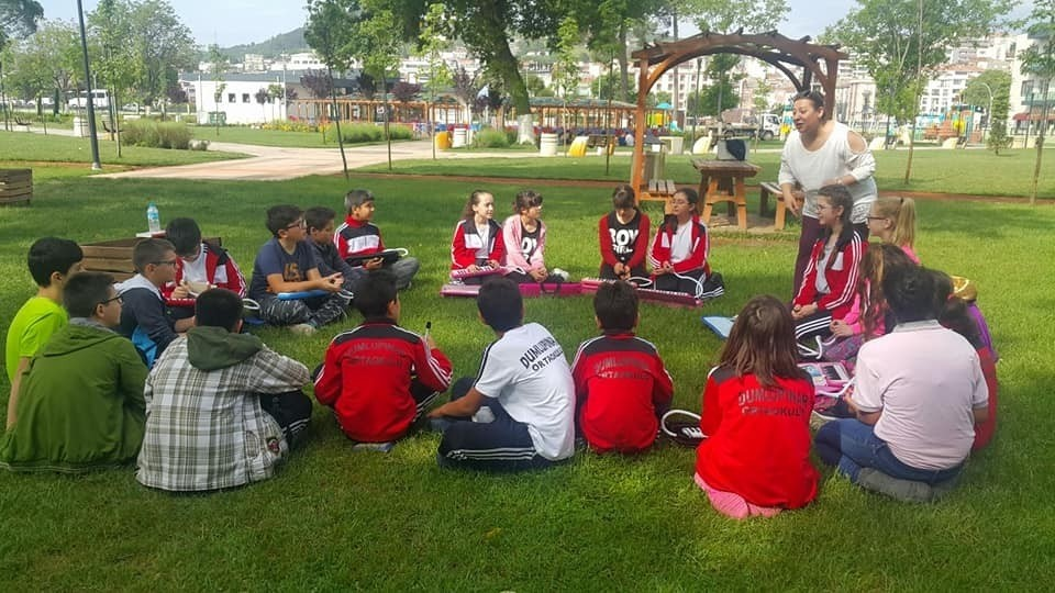 Children attend a class outside in the western city of u00c7anakkale.
