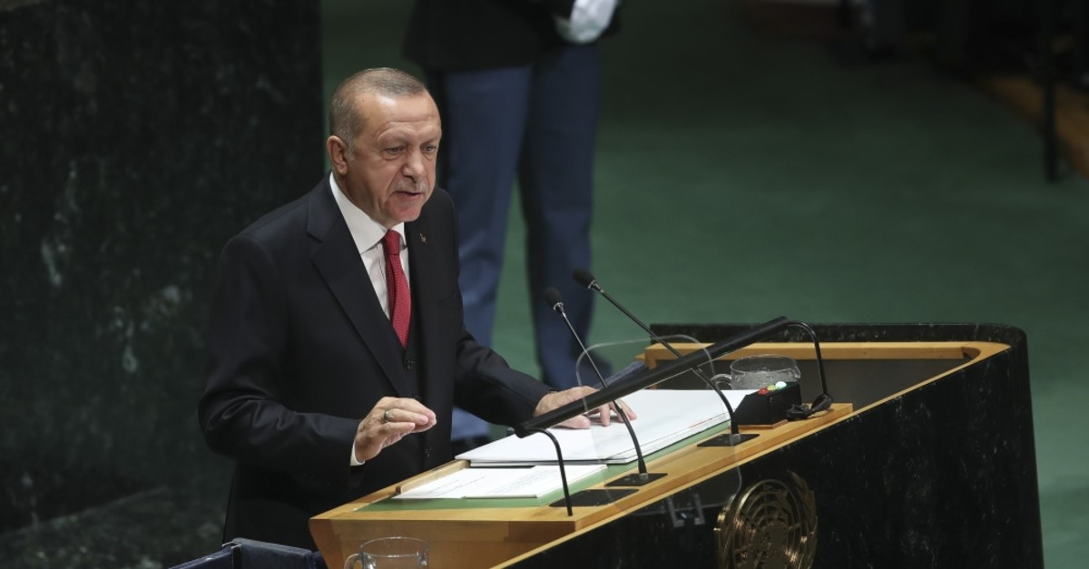 President Recep Tayyip Erdou011fan addresses the 74th session of the United Nations General Assembly at the U.N. headquarters in New York, Sept. 24, 2019.