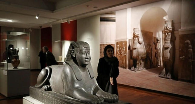 A Sphinx statue is among the 50 artworks on display in the exhibition The Louvre in Tehran at the National Museum.