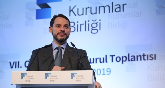 Treasury and Finance Minister Berat Albayrak addresses the 7th Ordinary General Assembly of the Association of Financial Leasing in Istanbul, July 5, 2019.
