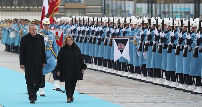 President Recep Tayyip Erdoğan and Maltese counterpart Marie-Louise Coleiro Preca attend a welcoming ceremony with military honors at the Presidential Complex in Ankara, Jan. 24, 2019. (AFP Photo)