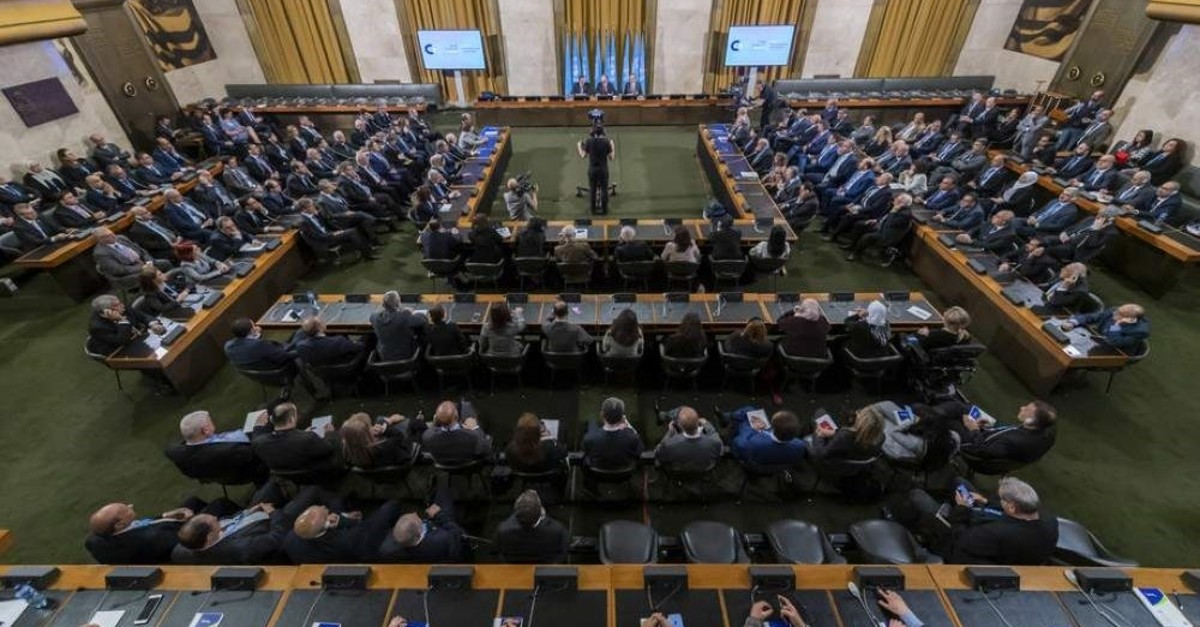 A general view during the meeting of the Syrian Constitutional Committee, at the European headquarters of the United Nations in Geneva, Oct. 30, 2019.  EPA