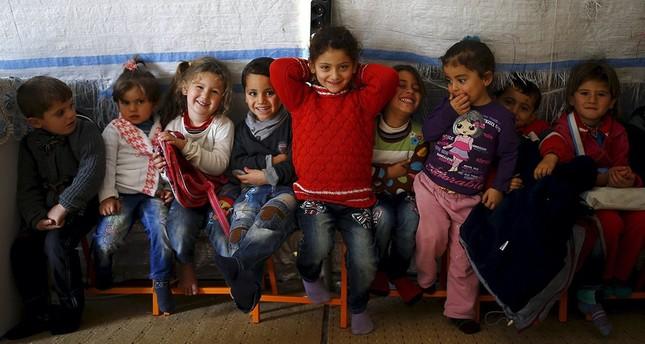 Syrian refugee children play in a kindergarten at Midyat refugee camp in southeastern Mardin province, Dec. 30, 2018.