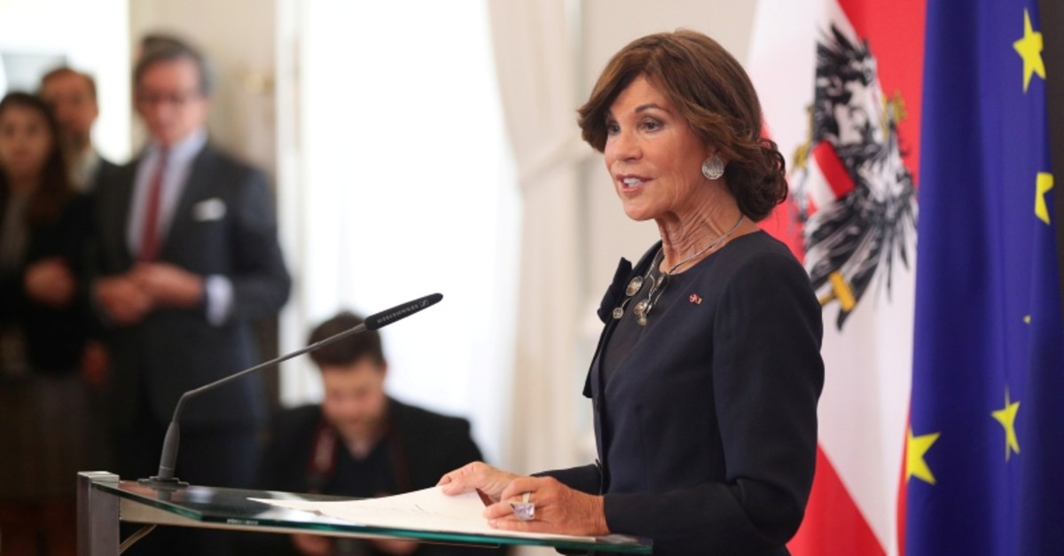 New Austrian Chancellor Brigitte Bierlein speaks to the media after the swearing-in ceremony in Vienna, Austria June 3, 2019. (Reuters Photo)