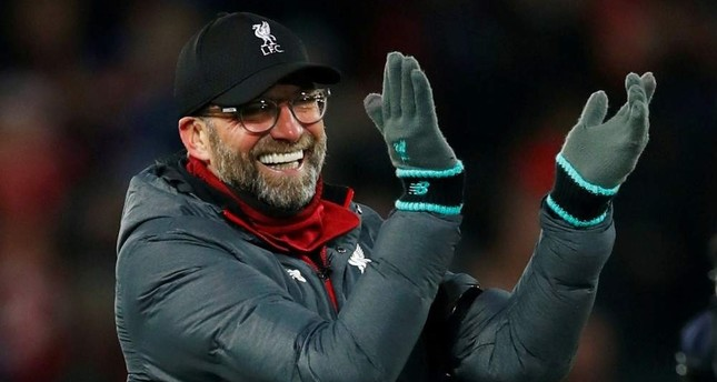Liverpool manager Juergen Klopp celebrates after the match against Brighton & Hove Albion, Liverpool, Nov. 30, 2019. REUTERS Photo