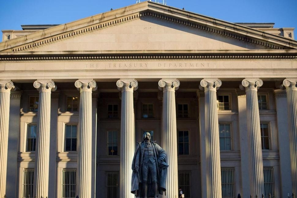 This file photo shows the U.S. Treasury Department building in Washington. (AP Photo)