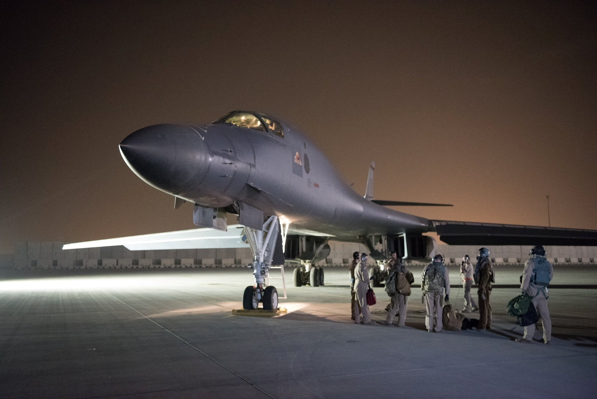 A U.S. Air Force B-1B Lancer and crew, being deployed to launch a strike as part of the multinational response to Syriau2019s use of chemical weapons, is seen at Al Udeid Air Base, Doha, Qatar, April 14.