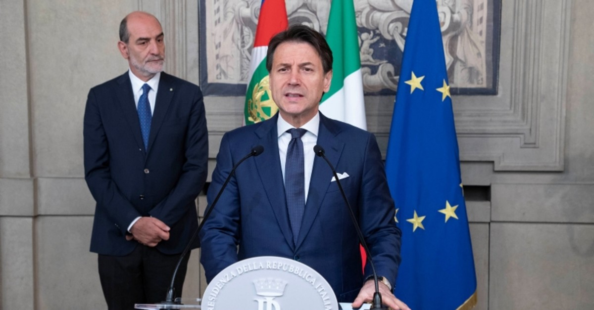 Designate premier Giuseppe Conte delivers his speech after a meeting with President Sergio Mattarella at Rome's Quirinale presidential palace, Thursday, Aug. 29, 2019. (Reuters Photo)
