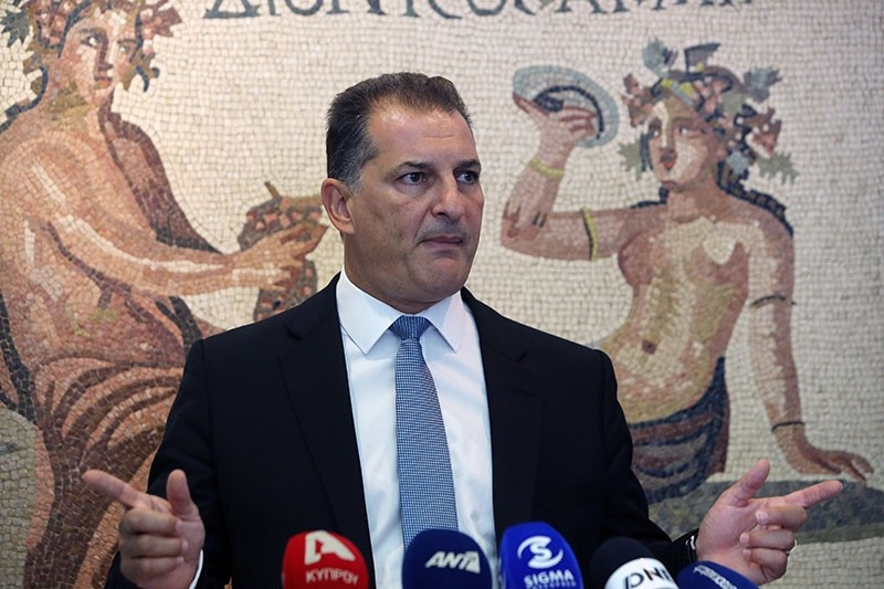 Greek Cypriot Administration Energy Minister Yiorgos Lakkotrypis talks to the media during a press conference at the energy ministry in Nicosia, September 12, 2017. (EPA Photo)