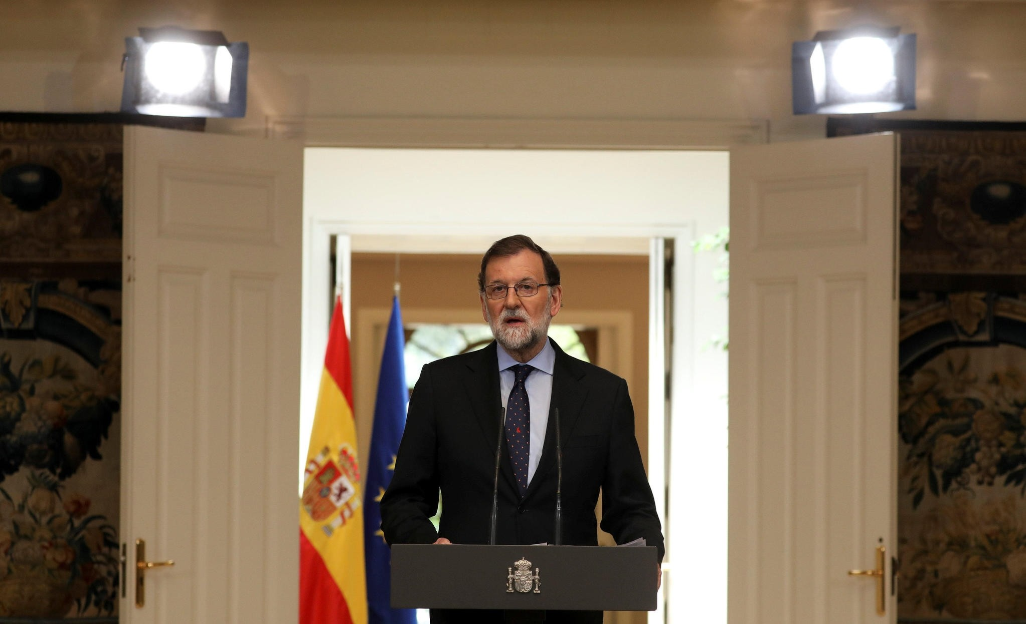 Spain's Prime Minister Mariano Rajoy delivers a speech regarding the dissolution of Basque separatist group ETA at the Moncloa Palace in Madrid, Spain, May 4, 2018.  (REUTERS Photo)