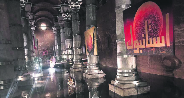 Art installation at Şerefiye Cistern.