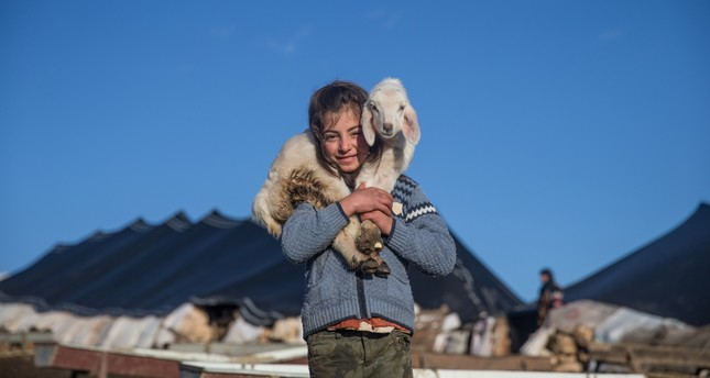 A Yörük girl poses with her baby lamb in Şanlıurfa where her family spends winter.