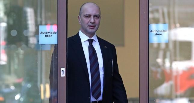 Fugitive Gülenist Terror Group (FETÖ) suspect Akın Ipek leaves after appearing at Westminster Magistrates Court in London, Sept. 25, 2018. (AFP Photo)