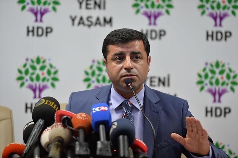 This file photo dated July 21, 2015 shows HDP co-chair Selahattin Demirtau015f speaking during a press conference in Ankara. (Photo: Sabah / Ali Ekeyu0131lmaz)