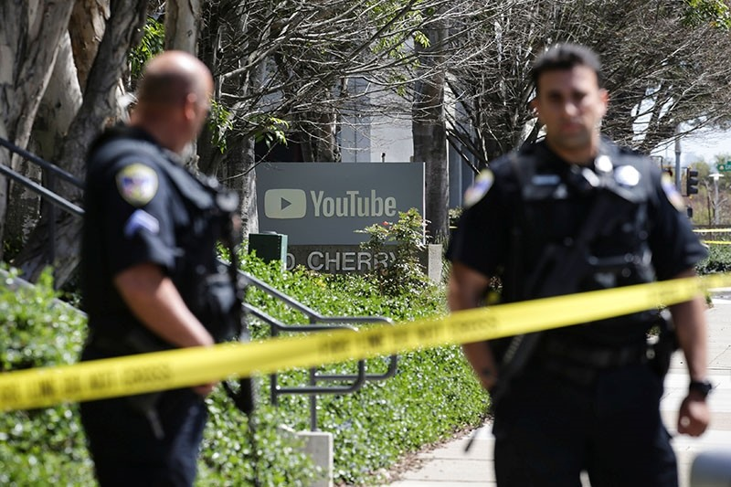 Police officers and crime scene tape are seen at Youtube headquarters following an active shooter situation in San Bruno, California, U.S., April 3, 2018. (Reuters Photo)