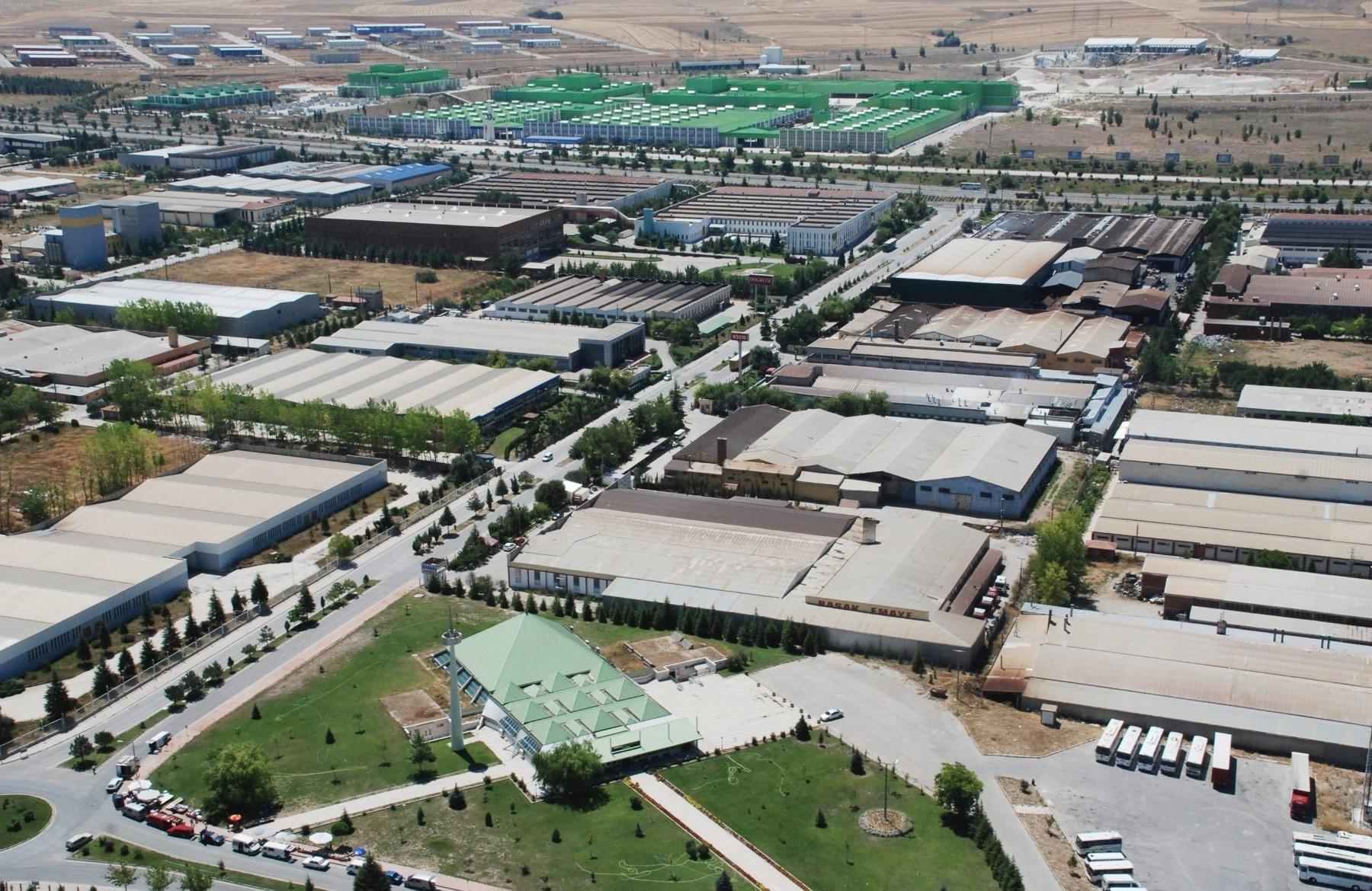 An aerial view of an organized industrial zone in Bursa.