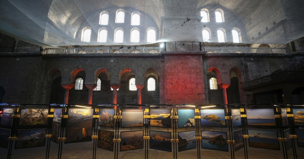 u0130zzet Keribar's photographs of the Akdamar Holy Cross Church are on display in the mesmerizing atmosphere of the Hagia Irene Church.