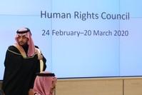وزير الخارجية السعودي يستعد لإلقاء كلمة أمام مجلس حقوق الإنسان في الأمم المتحدة في جنيف، 24 فبراير رويترز