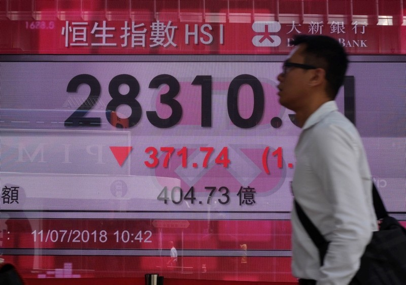 A man walks past a bank electronic board showing the Hong Kong share index at Hong Kong Stock Exchange Wednesday, July 11, 2018. (AP Photo)