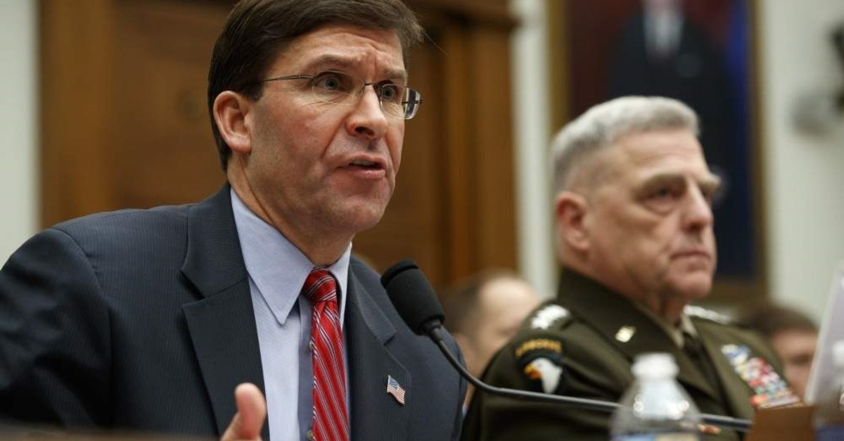 Secretary of Defense Mark Esper (L) and Chairman of the Joint Chiefs Gen. Mark Milley testify at a House committee hearing on U.S. policy in Syria, Dec. 11, 2019, Capitol Hill, Washington. (AP Photo/Jacquelyn Martin)