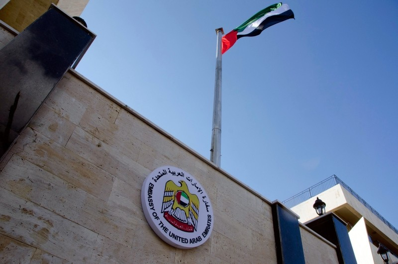 The United Arab Emirates embassy is pictured in Damascus, Syria on Dec. 27, 2018 after its reopening, the latest sign of efforts to bring the Assad regime back into the Arab fold. (AFP Photo)