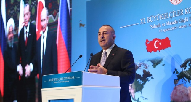 Foreign Minister Mevlüt Çavuşoğlu delivers a speech during the 11th Ambassadors' Conference held by Turkey's Ministry of Foreign Affairs in Ankara, on August 5, 2019. AA Photo