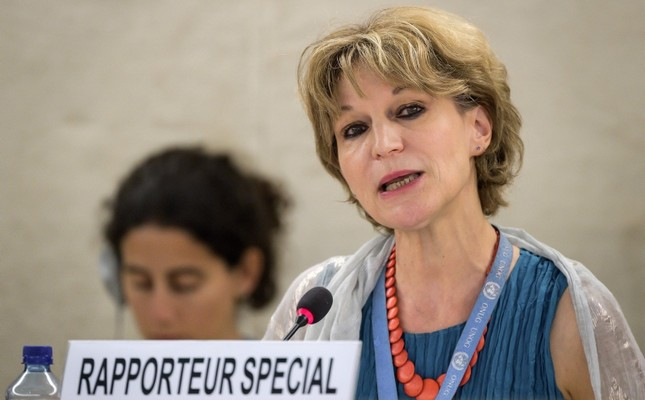 U.N. special rapporteur on extrajudicial, summary or arbitrary executions Agnes Callamard delivers her report of the killing of Saudi journalist Jamal Khashoggi during the United Nations Human Rights Council in Geneva on June 26, 2019. (AFP Photo)