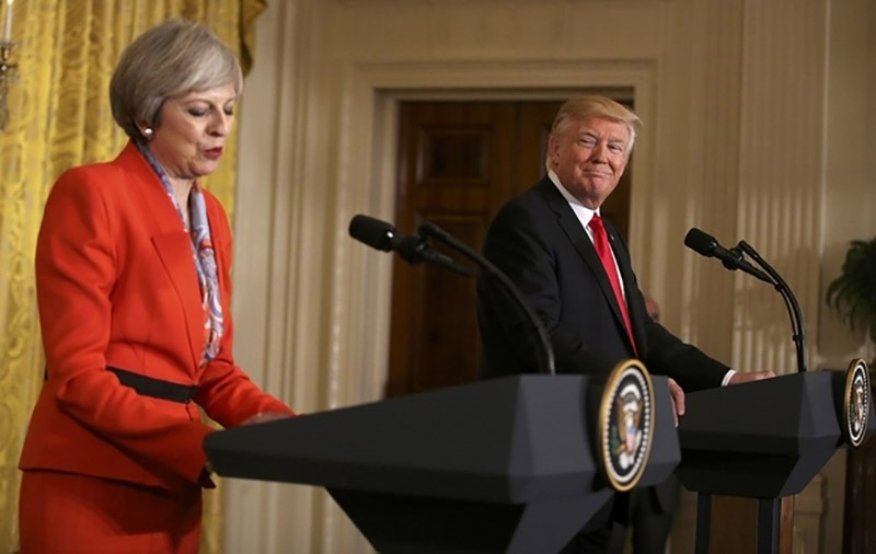 British Prime Minister Theresa May speaks as U.S. President Donald Trump looks on during their joint news conference at the White House in Washington, U.S., January 27, 2017. (Reuters Photo)