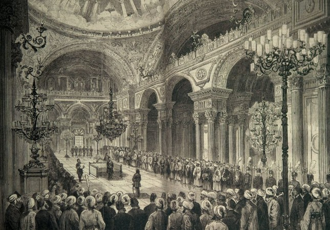 The illustration depicting the General Assembly of the Ottoman Empire constituted in 1876.