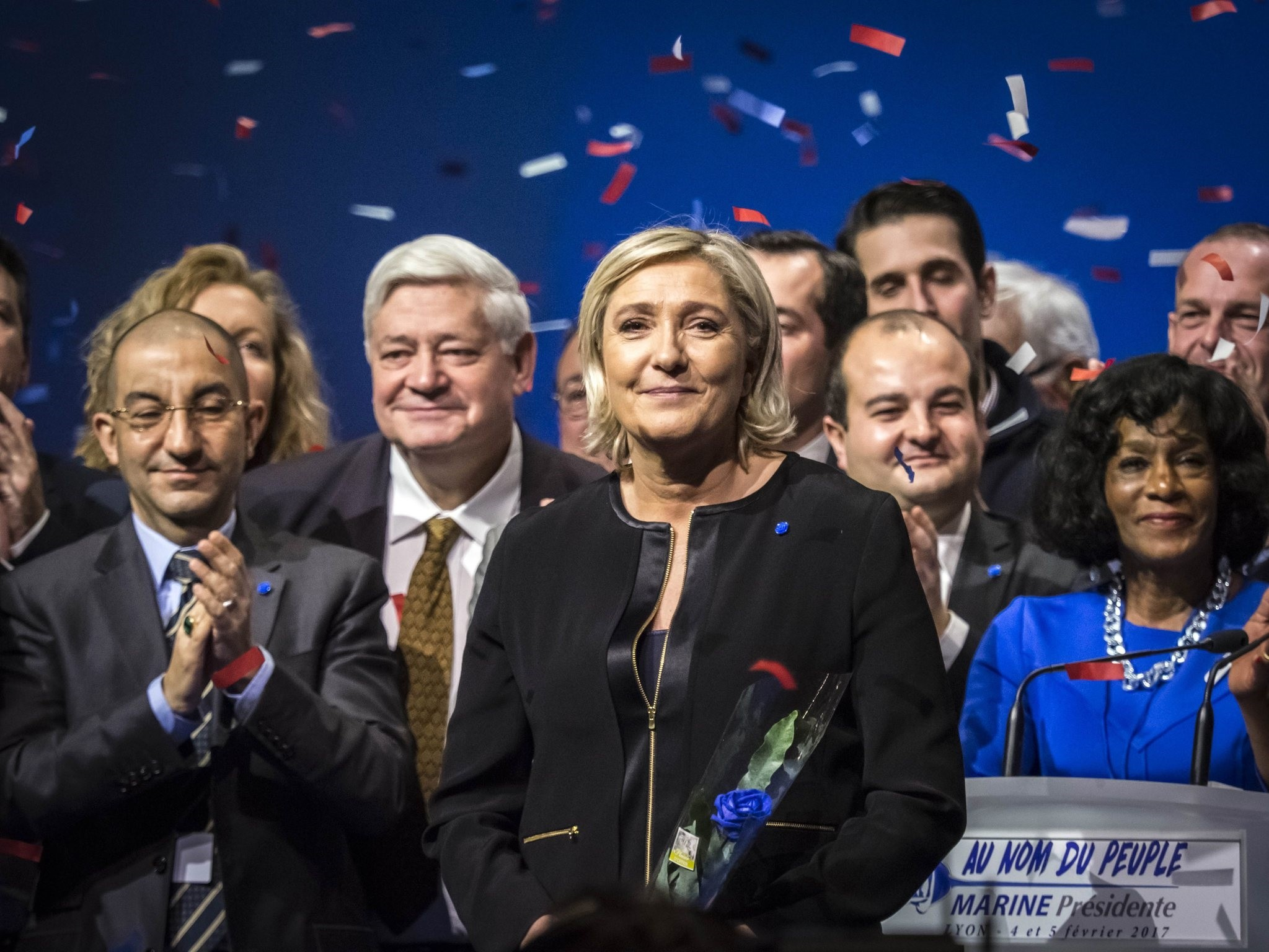 Leader of France's far-right Front National political party and candidate for the 2017 French presidential elections Marine Le Pen (C). (EPA Photo)
