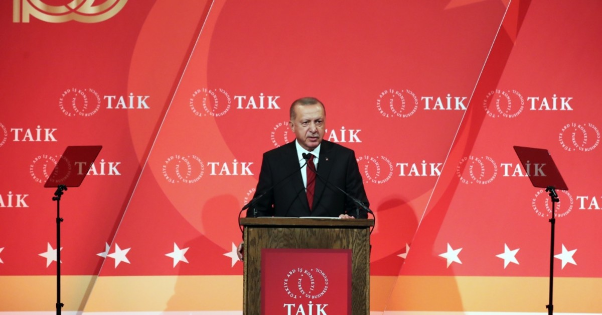 President Recep Tayyip Erdou011fan speaks at the 10th Turkey Investment Conference, New York, Sept. 25, 2019.