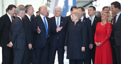 blockquote class=twitter-video data-lang=en p dir=ltr lang=enAmerica first? Trump appears to shove fellow NATO member to get to the front for the group photo a...