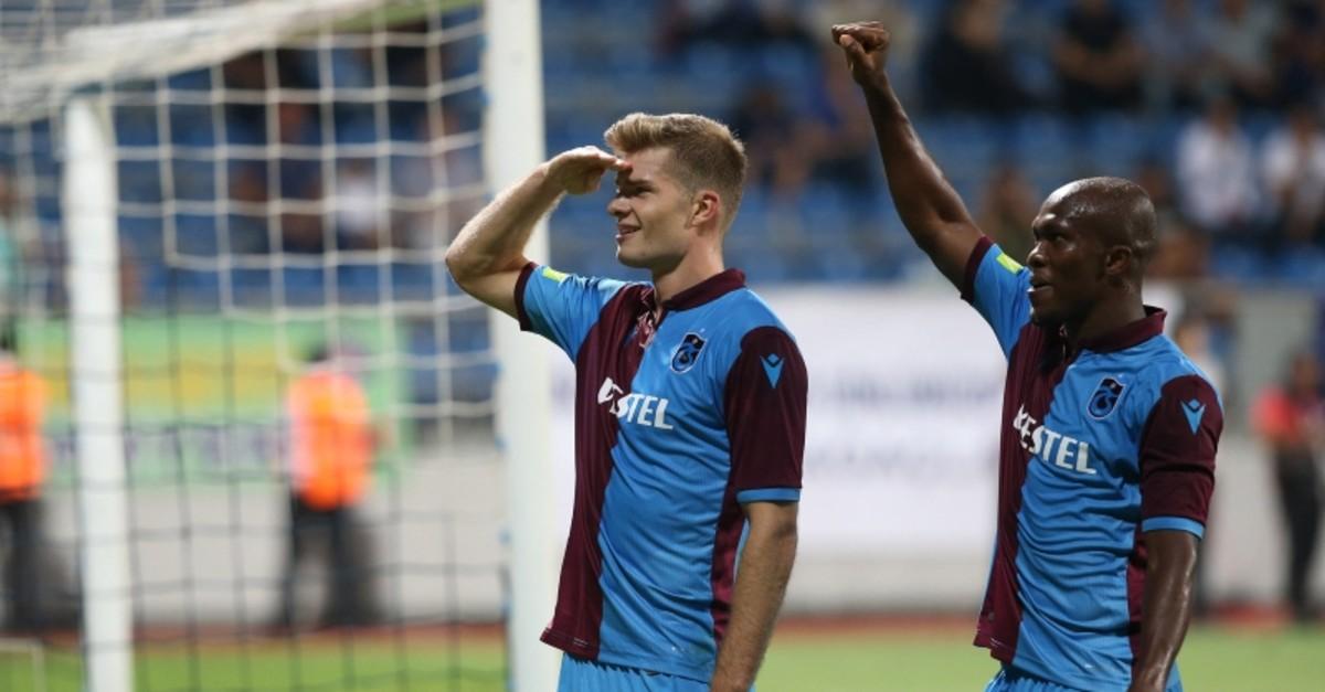 Trabzonspor's Norwegian striker Alexander Su00f6rloth (L) celebrates his goal alongside Nigerian Anthony Nwakaeme during Turkish Su00fcper Lig opener match against Istanbul side Kasu0131mpau015fa, on Aug. 19, 2019. (AA Photo)
