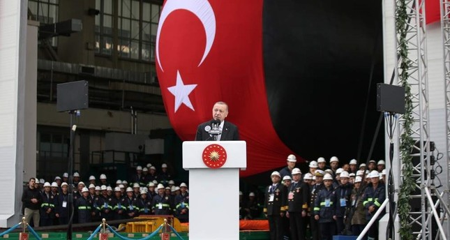 President Recep Tayyip Erdo?an speaks during the launching ceremony for Turkish Navy submarine Pirireis. He also inaugurated welding work on a fifth submarine, Seydialireis, Kocaeli, Dec. 22, 2019. AA Photo