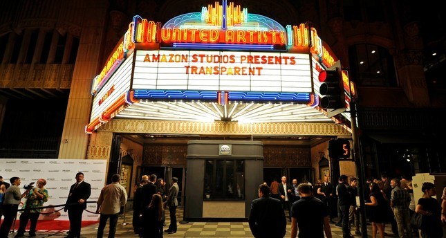 The marquee of United Artists theater is seen during Amazon's premiere screening of the TV series Transparent at the Ace Hotel in downtown Los Angeles in 2014.
