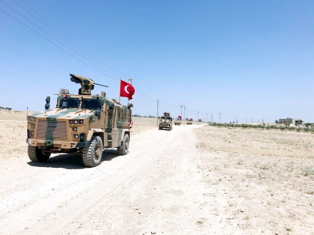 Turkish military vehicles seen during an independent patrol in Manbij, northern Syria, Oct. 3, 2018.
