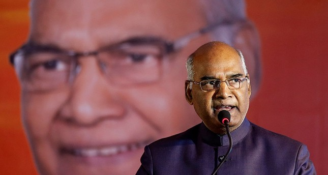 Ram Nath Kovind, nominated presidential candidate of India's ruling Bharatiya Janata Party (BJP), delivers a speech during a welcoming ceremony as part of his nation-wide tour, in Ahmedabad, India, July 15, 2017. (Reuters Photo)