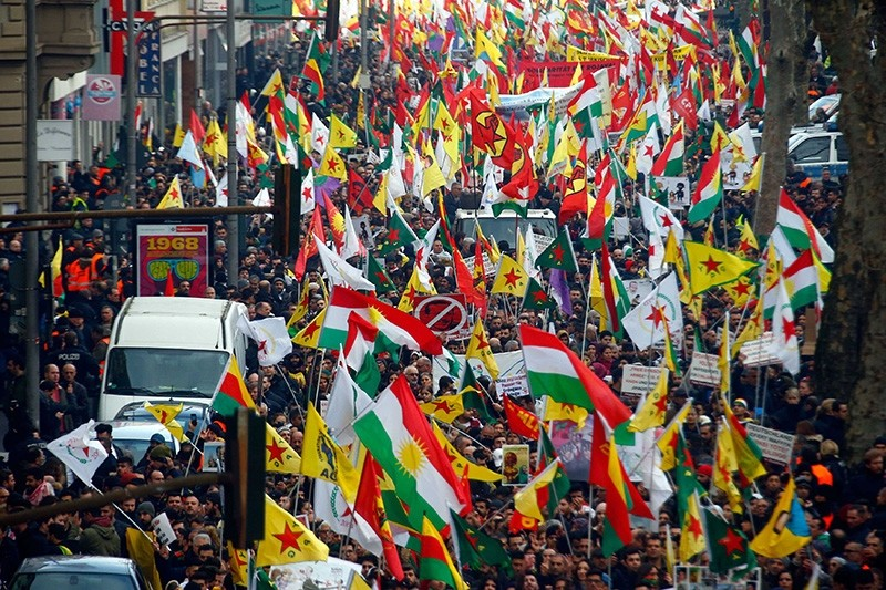 PKK sympathizers protest against Operation Olive Branch in northwest Syria during a demonstration in Cologne, Germany, January 27, 2018. (Reuters Photo)
